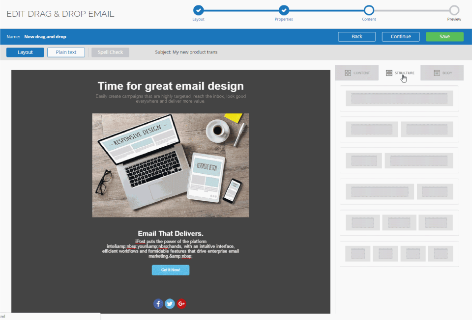 Drag & Drop Email Design