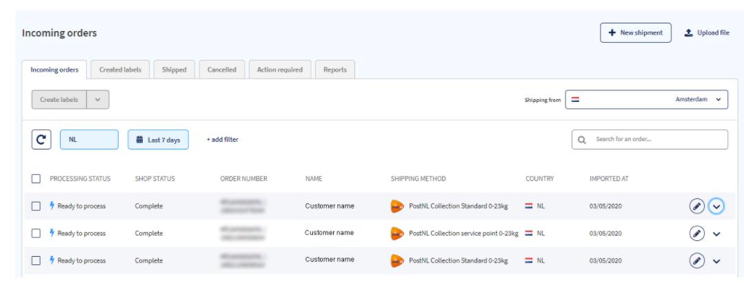Sendcloud incoming orders