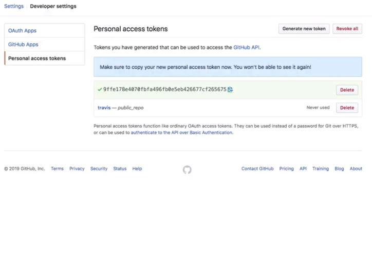 Travis CI personal access tokens screenshot