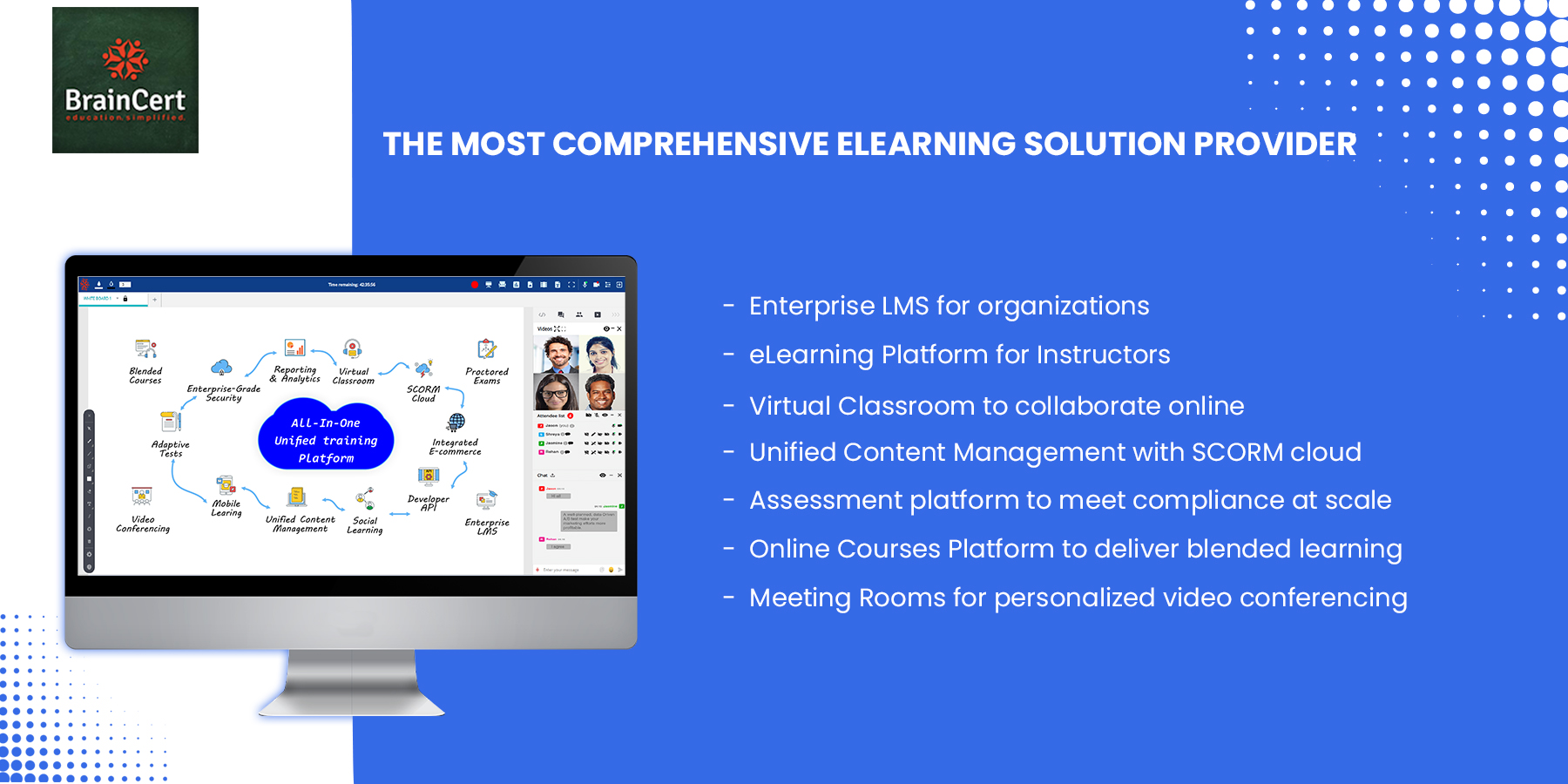 BrainCert screenshot: BrainCert offers all the essential building blocks to create a robust and cost-effective eLearning ecosystem in the cloud without worrying about scalability, performance and security posture.