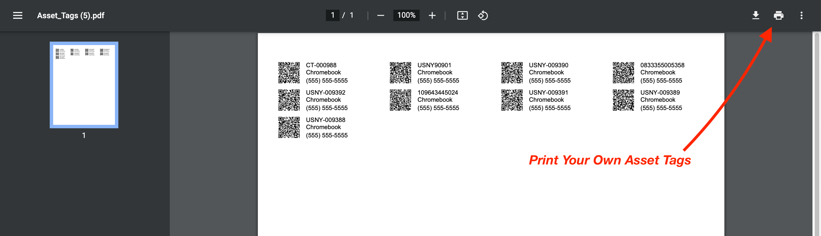 Print your own barcodes from within Reftab