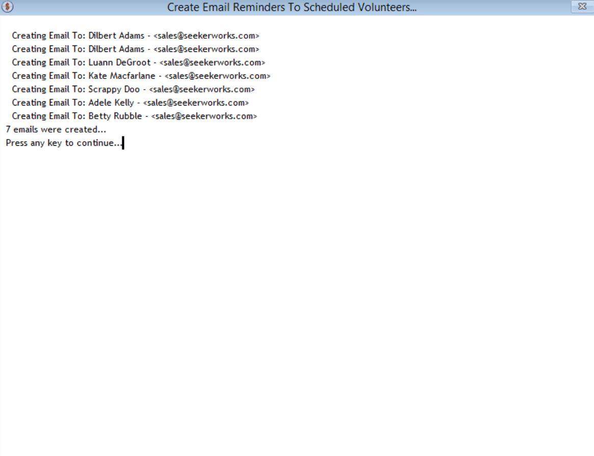 SeekerWorks email reminders