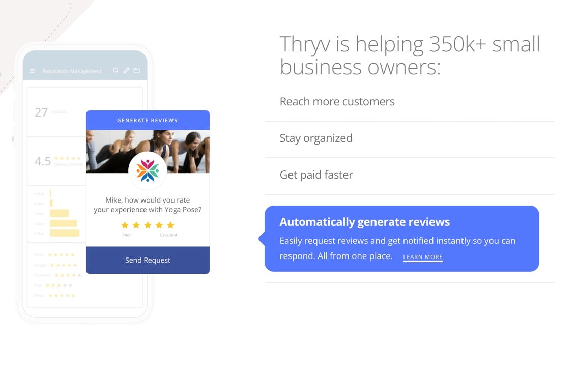 Thryv Software - Because every star counts. Take control of and protect your reputation online, one star at a time. Generate more reviews, and respond all from one place.