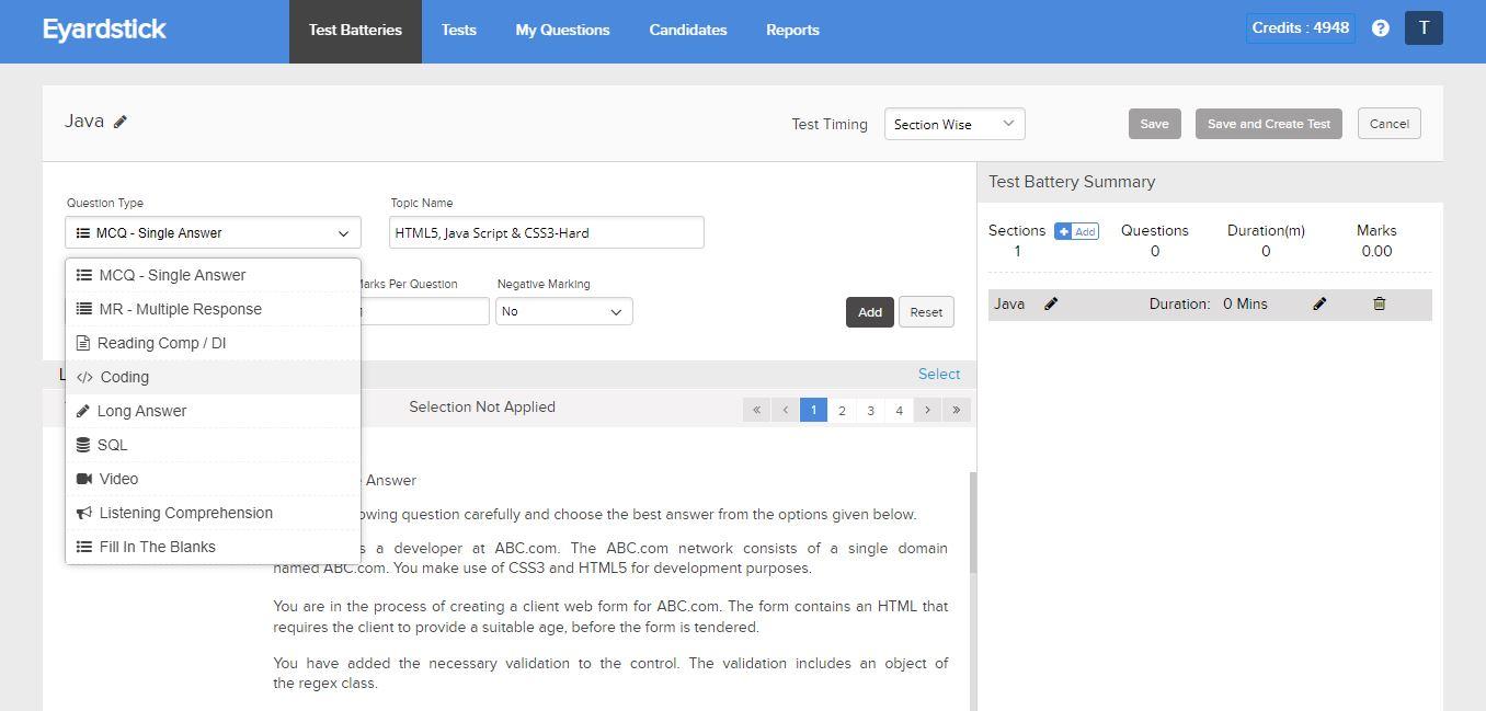 Eyardstick test type screenshot