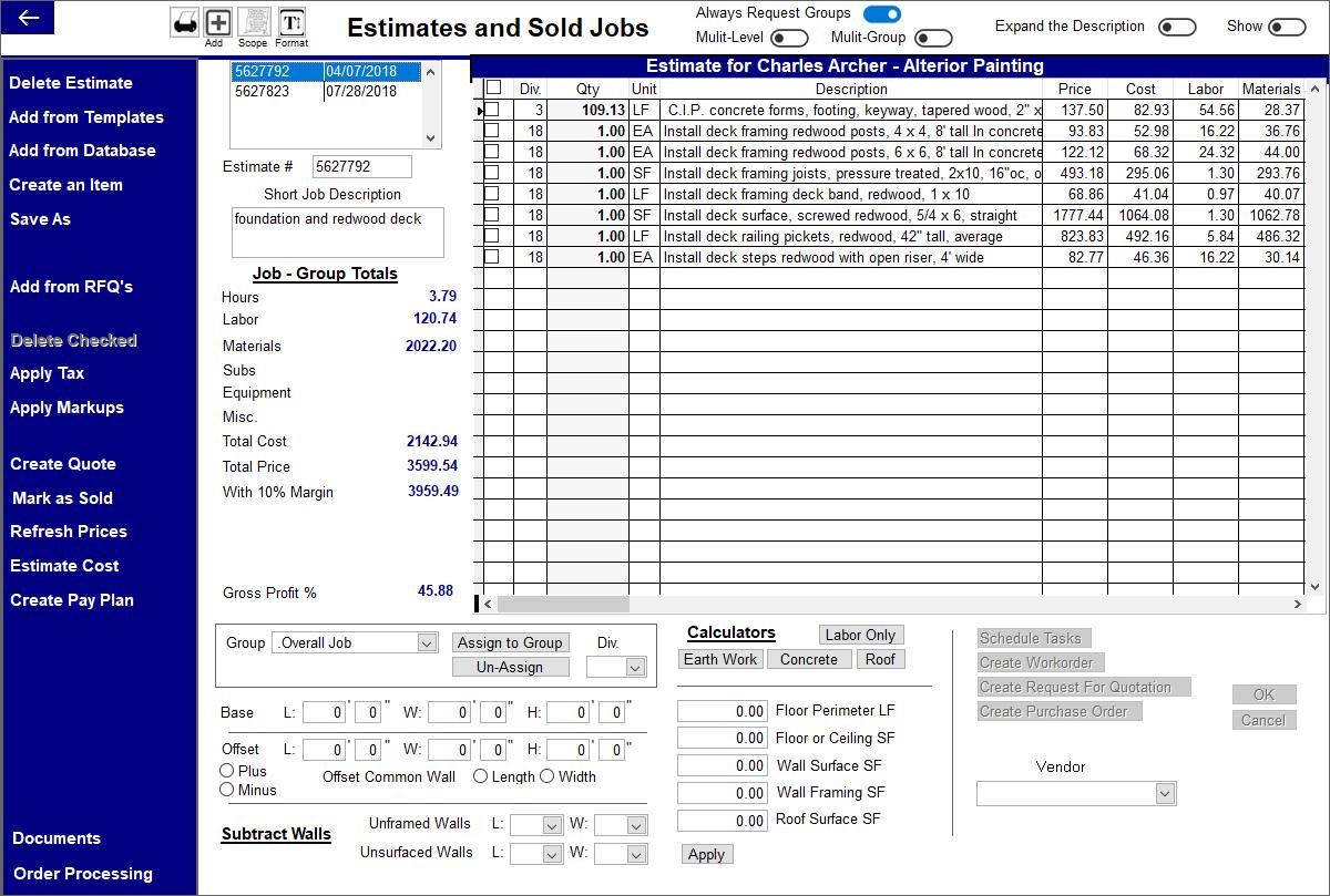 Contractor's Office Software - Estimate screen