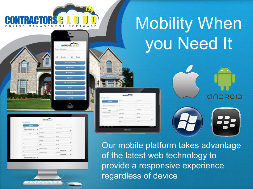 Contractors Cloud Software - Mobile access