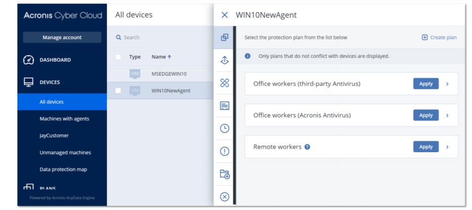 Acronis Cyber Protect Cloud default protection plan