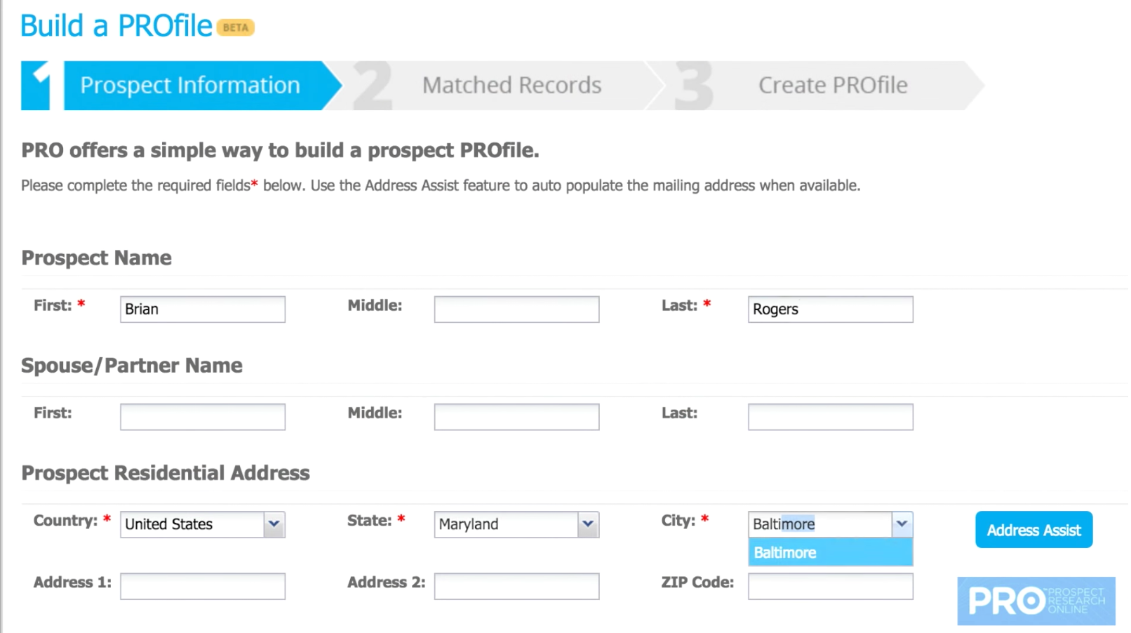 To create a PROfile, users only need to enter a name and city location