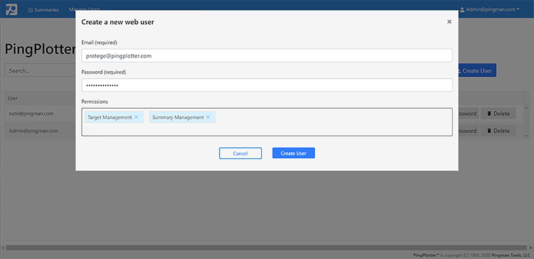 PingPlotter create new web user
