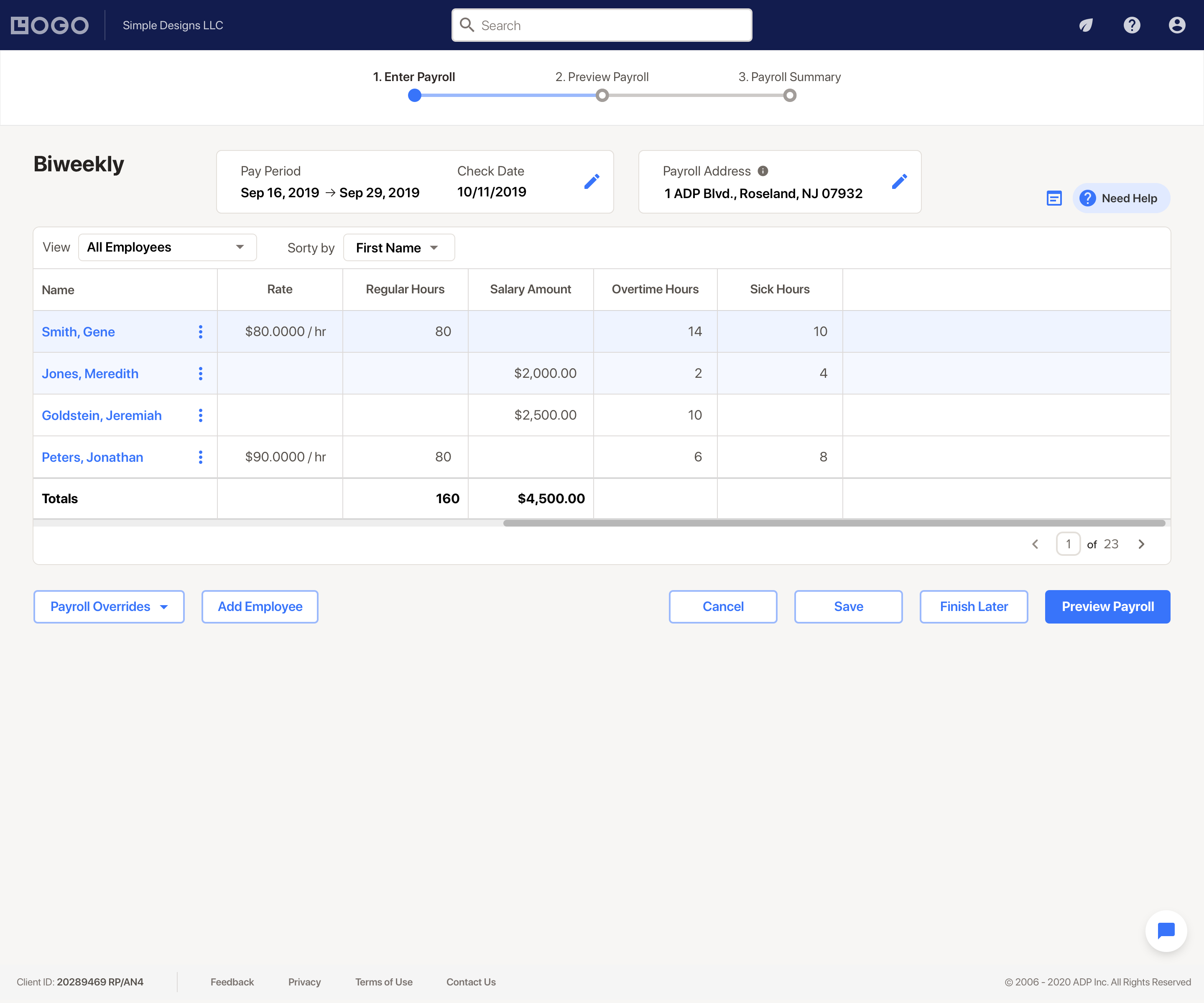 RUN Powered by ADP Software - Easily input your staff's hours, confirm their salary amount and PTO