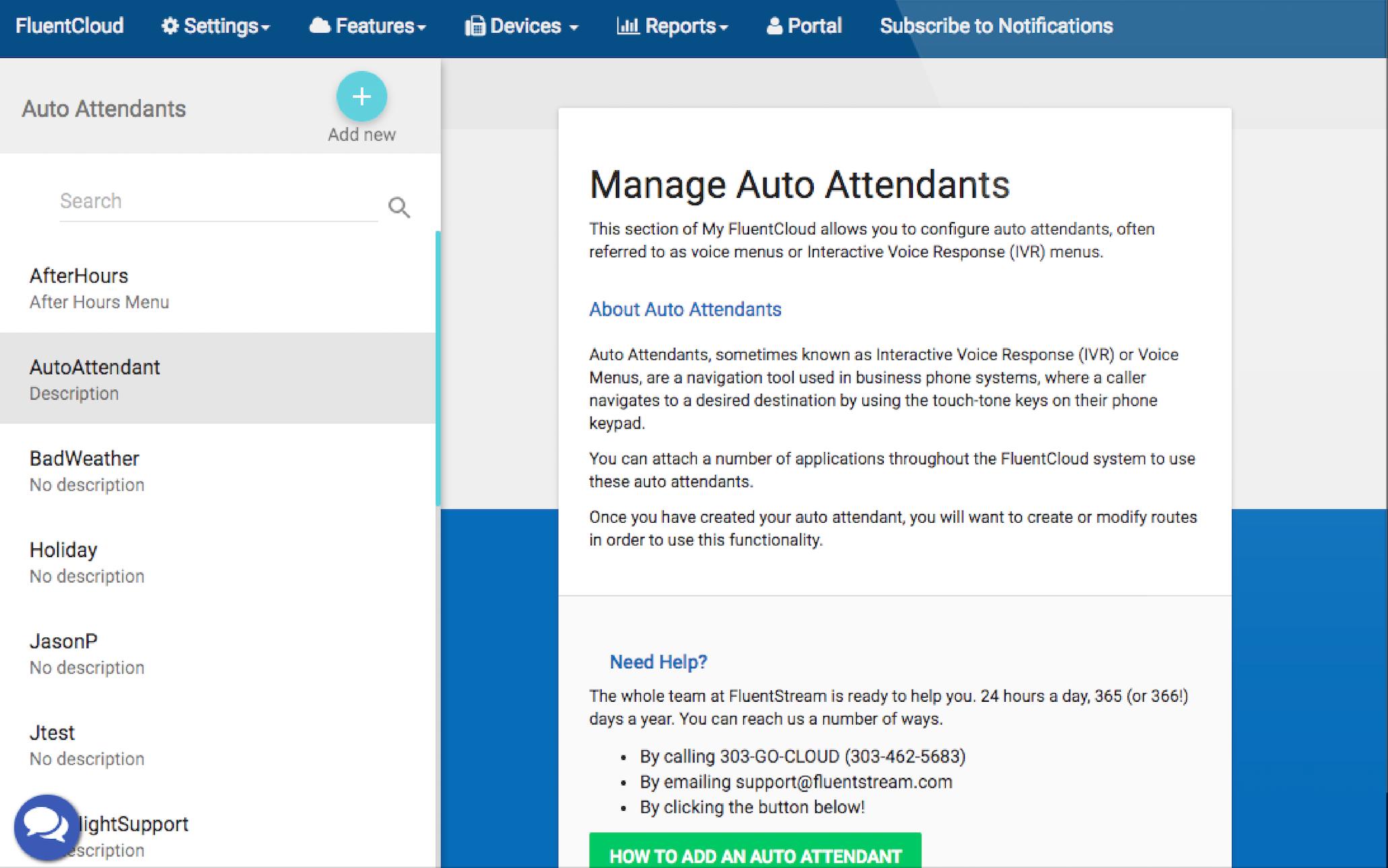 FluentStream Software - Manage auto attendants %>