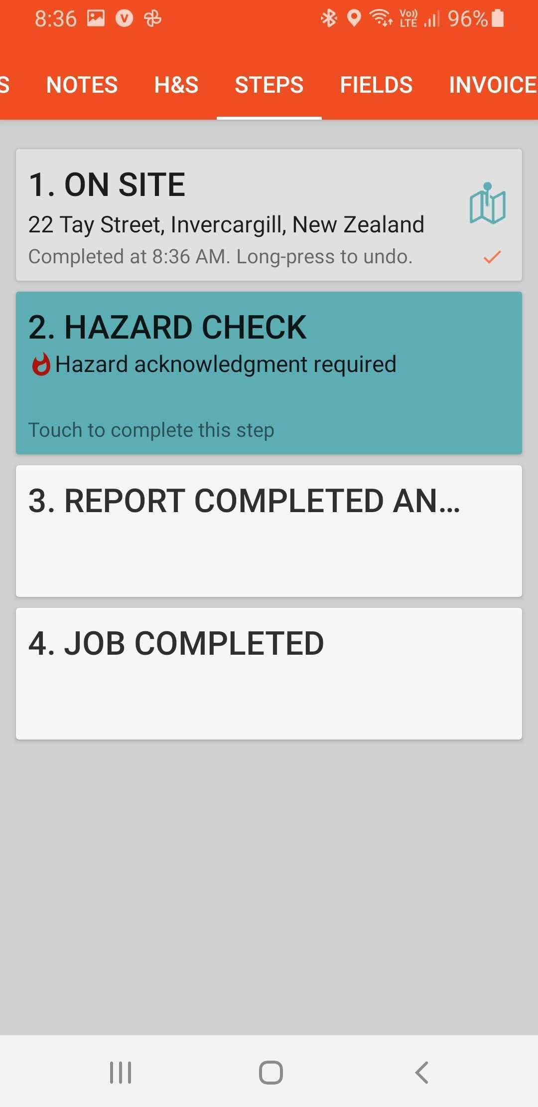 Safety check as seen by mobile worker
