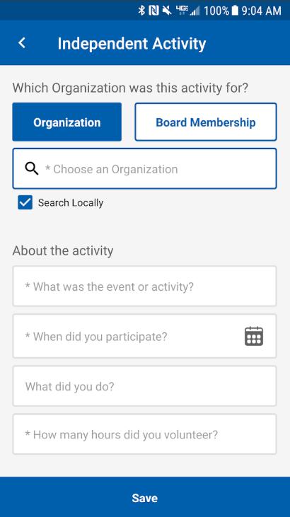 Blackbaud Employee Volunteering activity details