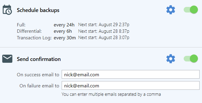 You can set the schedule you need, email notifications if a job failed or succeeded and other useful settings