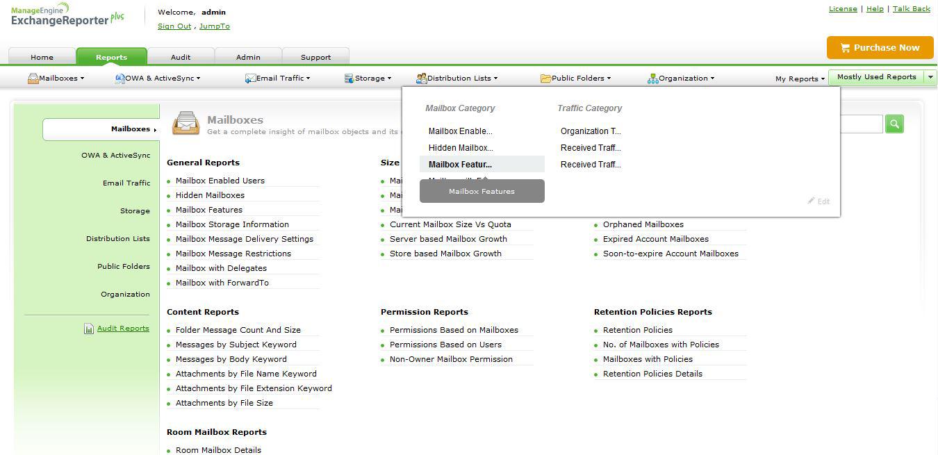 Exchange Reporter P mailbox features screenshot