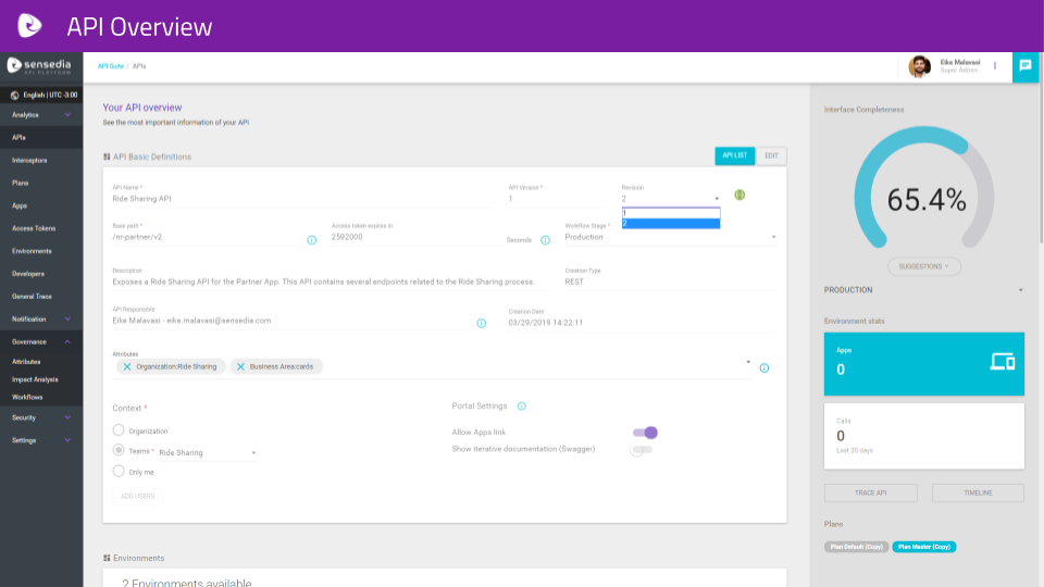 Sensedia screenshot: Sensedia API Platform API overview
