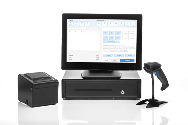 All in one touch screen monitor, receipt printer, barcode scanner, cash drawer powered by POS Nation point of sale software.