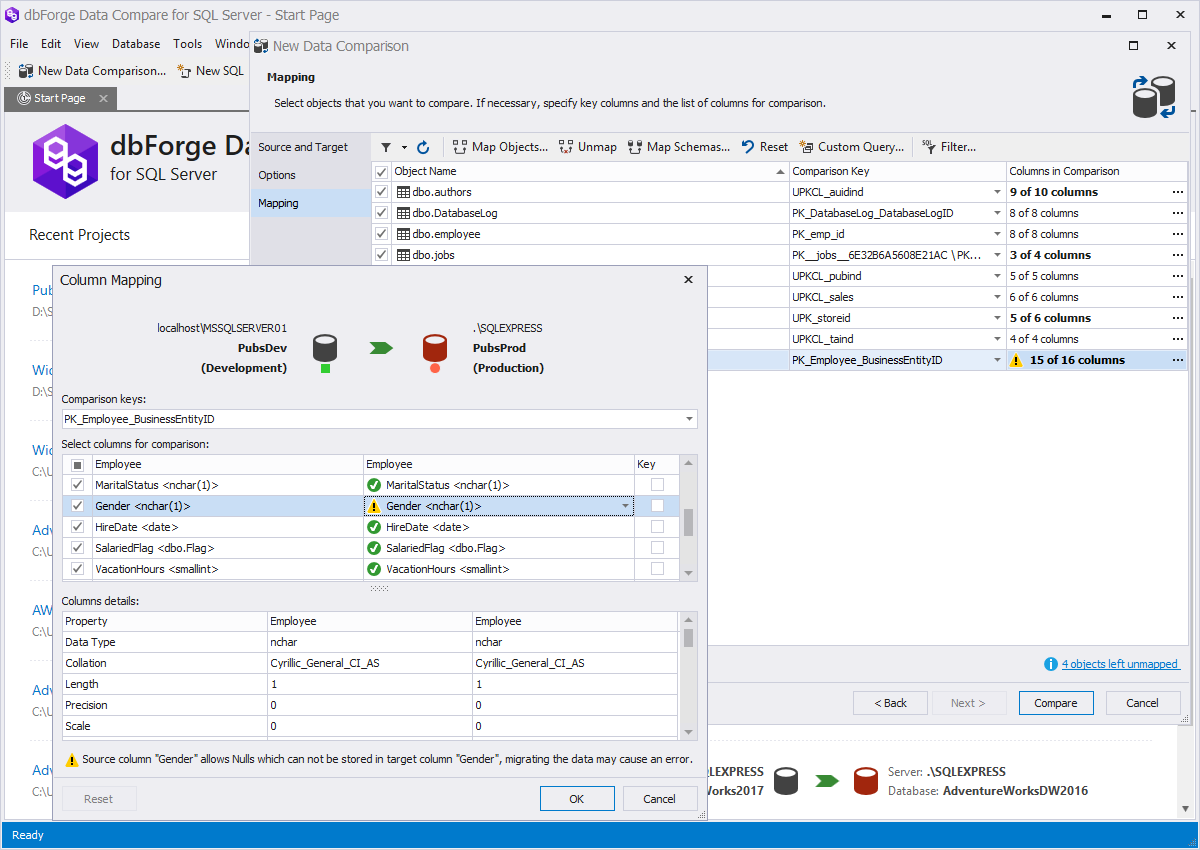 dbForge Data Compare for SQL Server column mapping screenshot