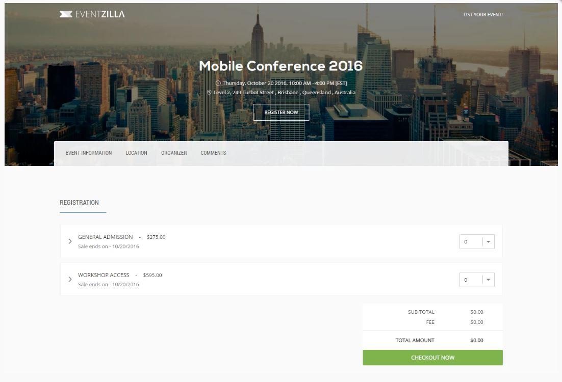 Eventzilla sample event website