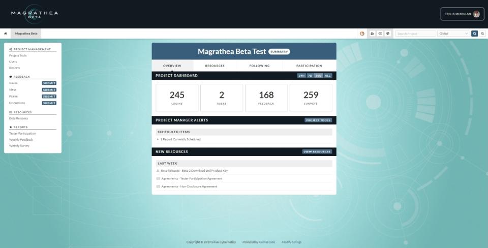 Centercode beta testing screenshot
