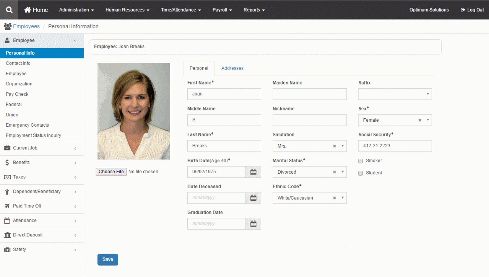 Optimum HR's web browser interface and an example of an employee personal info page
