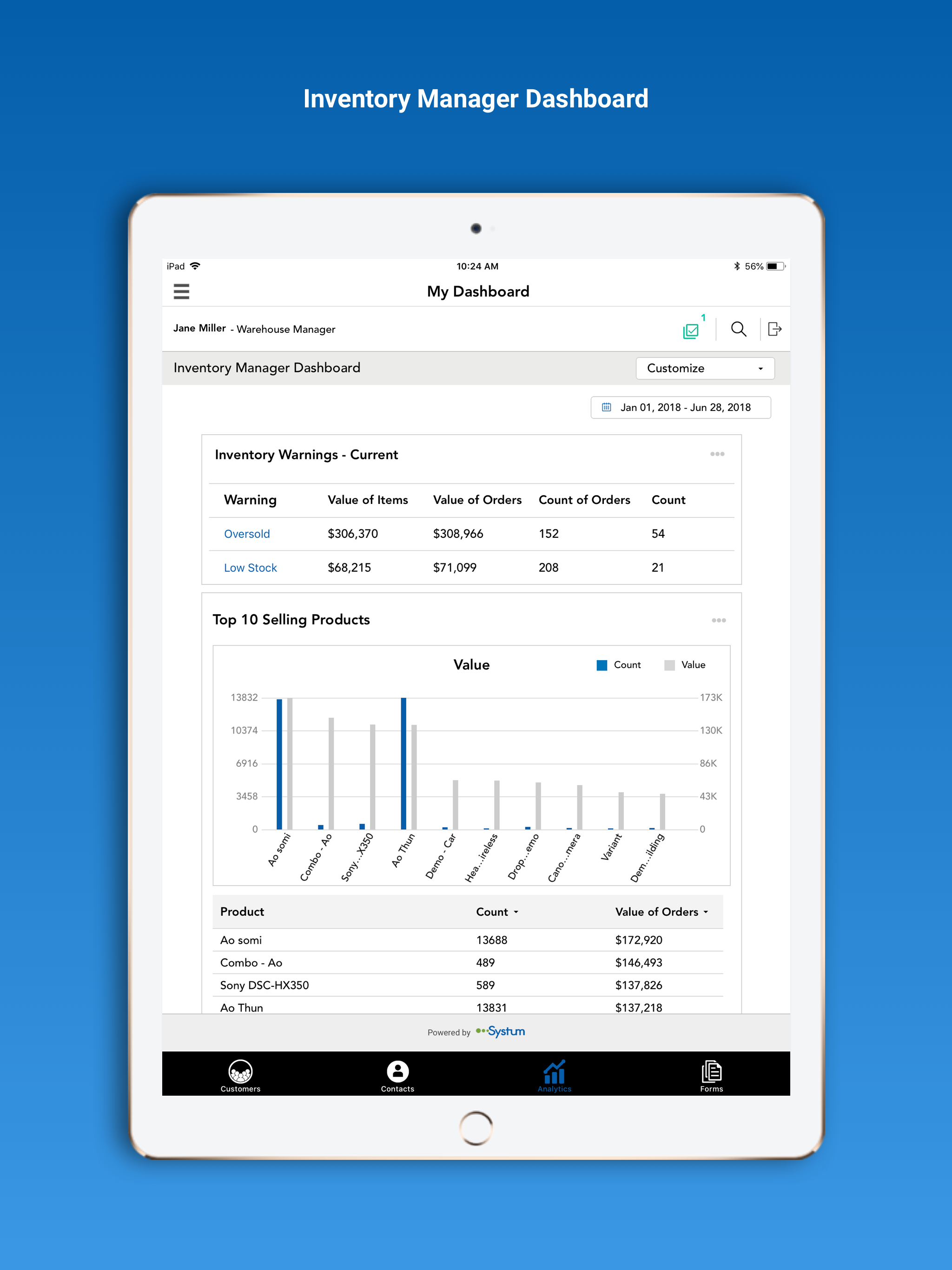 Systum inventory manager dashboard  screenshot