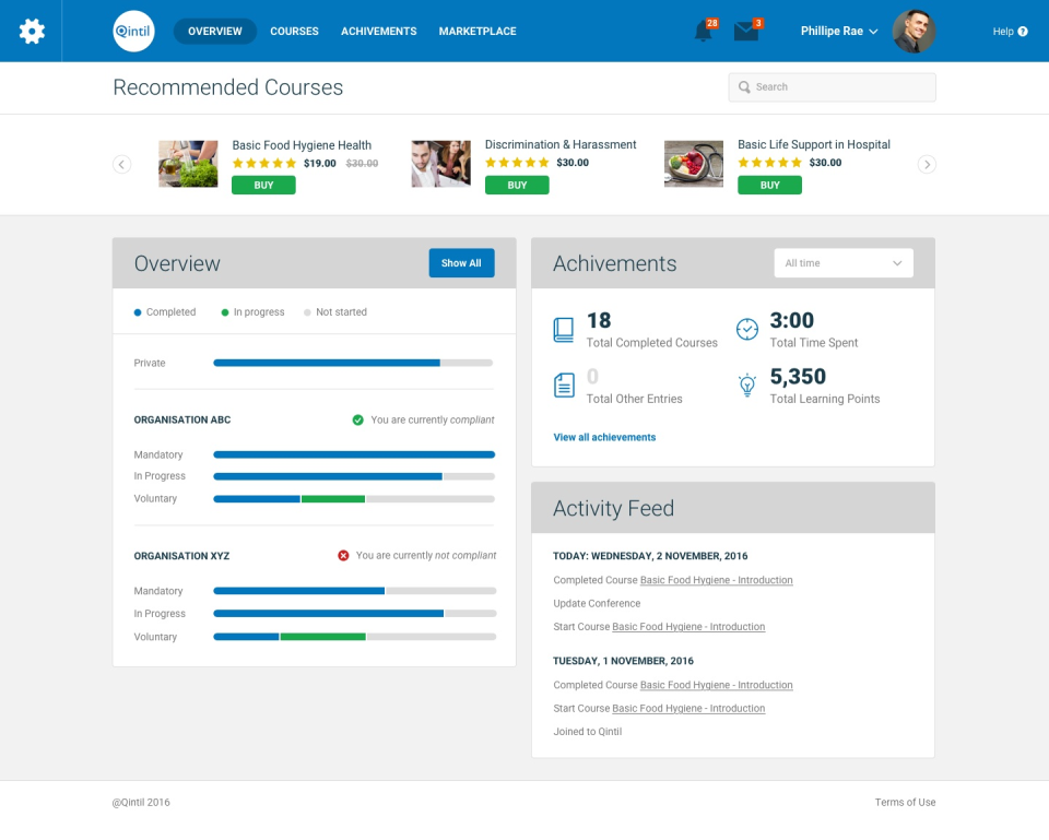 Learners can view their compliance requirements via the dashboard