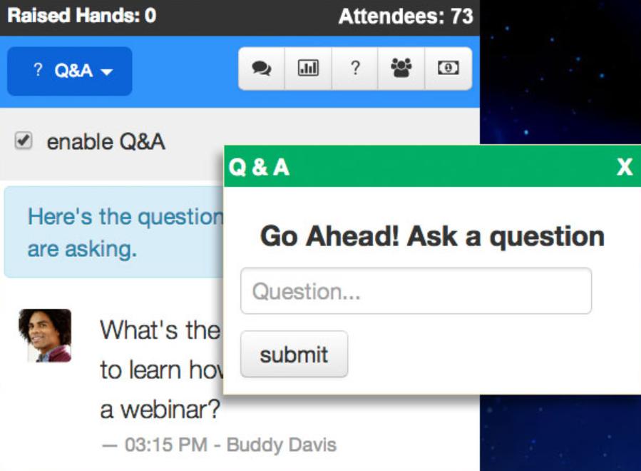 Webinars OnAir Q & A platform