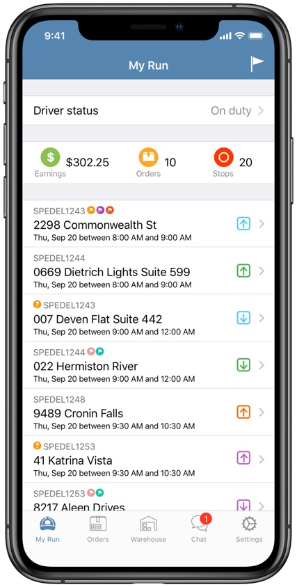 Driver app with driver status, earnings, and delivery run summary