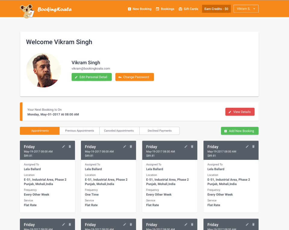 BookingKoala Software - Service provider dashboard