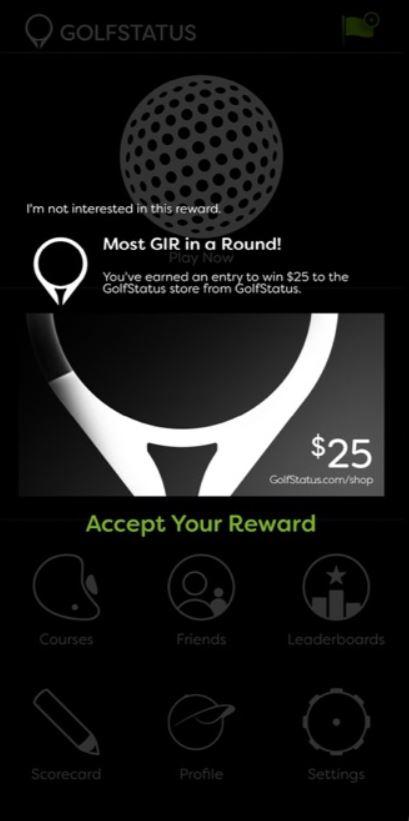 GolfStatus accept rewards