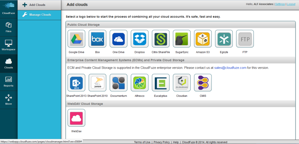 CloudFuze screenshot: CloudFuze cloud adding