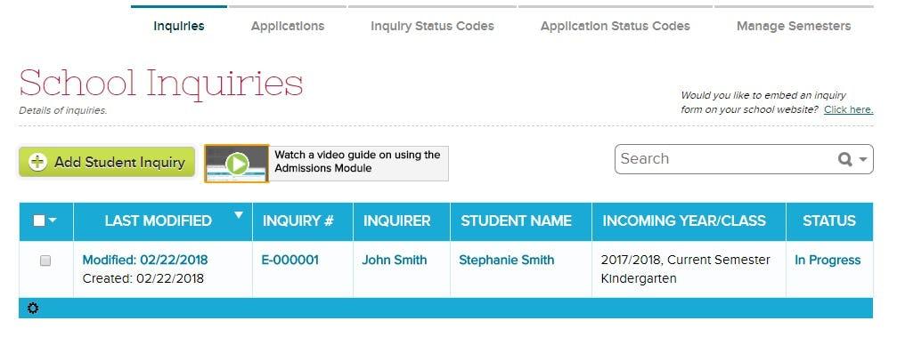 QuickSchools.com Software - Admissions management