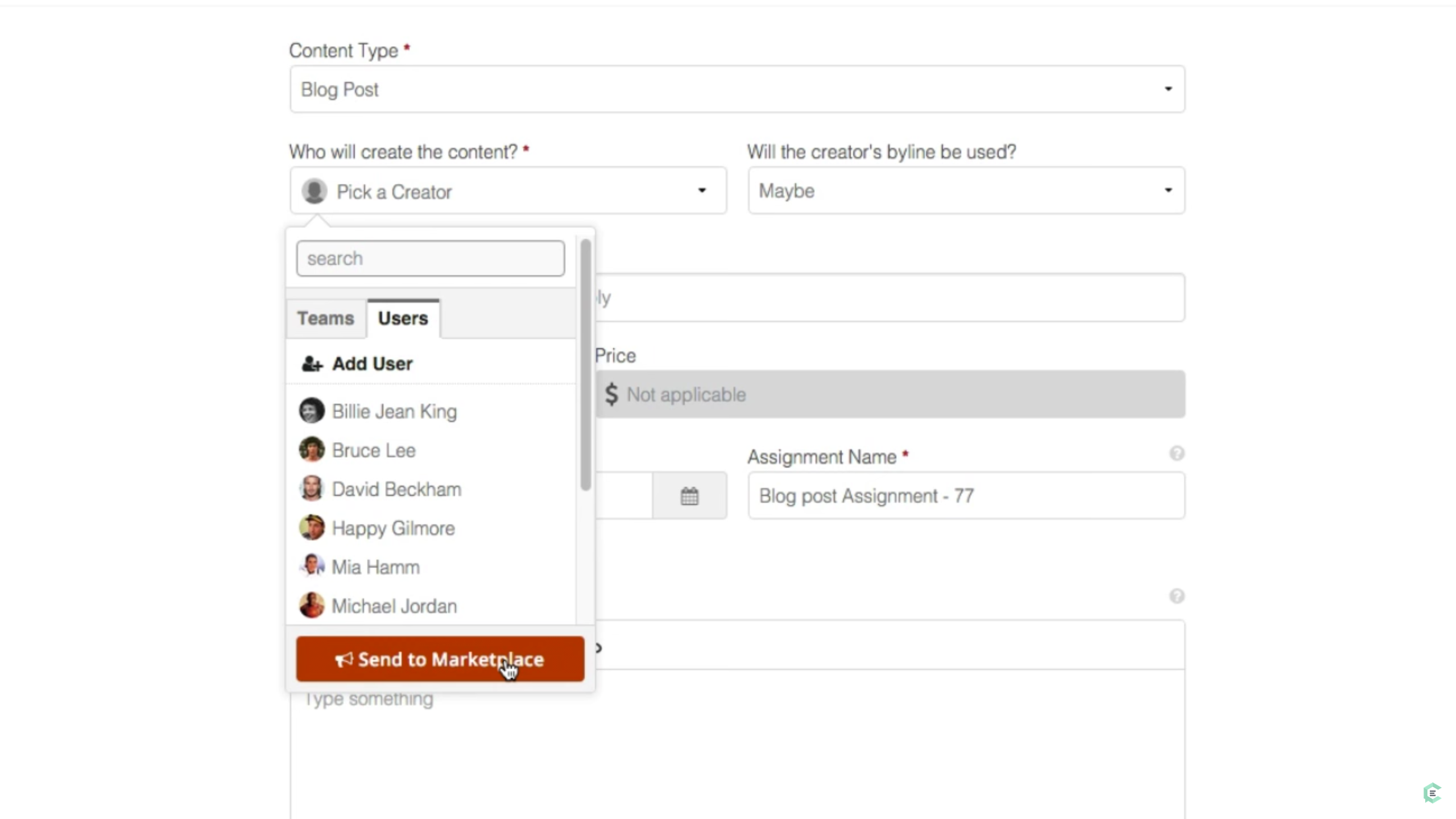 ClearVoice screenshot: Specify a content job, request certain freelancers or post it to the Marketplace