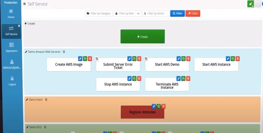 OpCon self-service admin mode