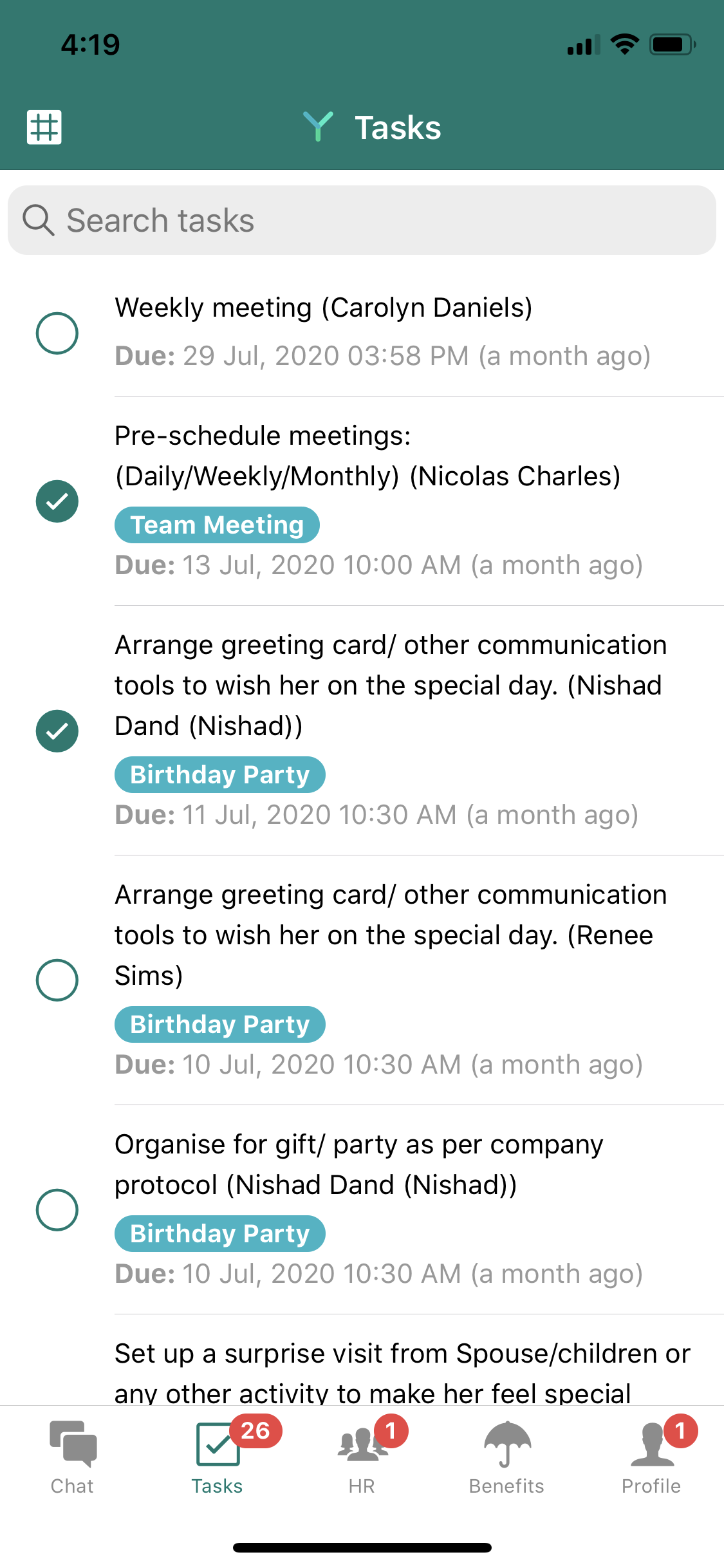 Yuvo task lists