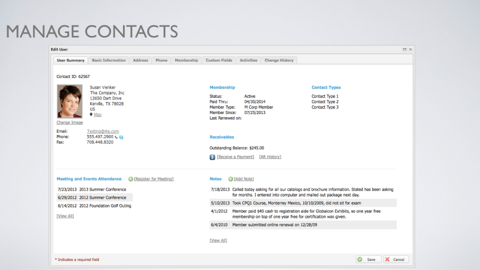 Manage contacts and edit user settings with a multi-tab view including summary, basic information, address, phone, membership and more