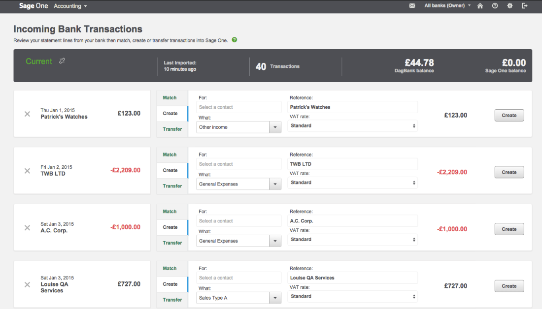 Sage Business Cloud Accounting Software - Incoming transactions