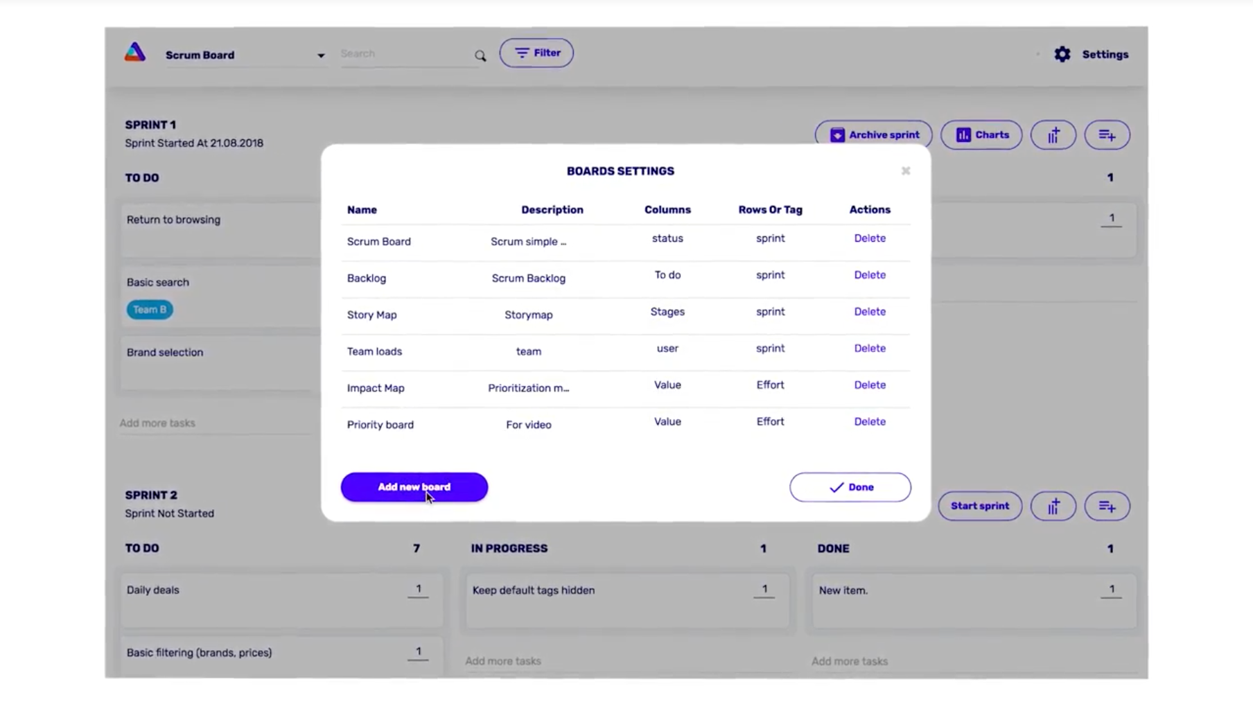 Custom boards can be creating, providing teams with full flexibility to support their workflow