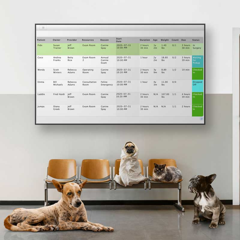 Whiteboard feature is included in the price.  View the status of every patient in your practice at a quick glance and improve internal communication.