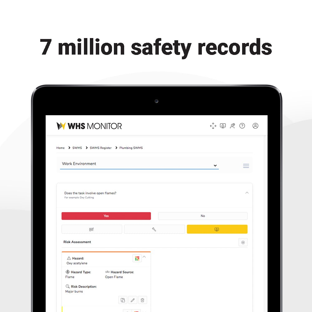 WHS Monitor Software - WHS Monitor's database features over 7 million safety records including MSDS's, SWMS, SWPs and more