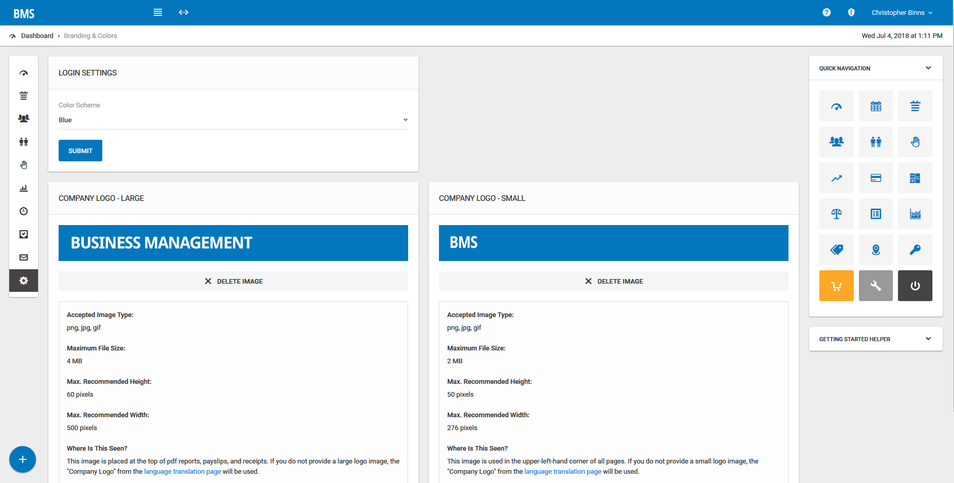Customize the branding, colors, and text of the Bizstim portal