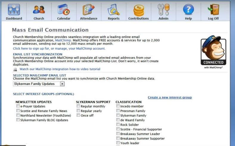 Church Office Online Software - MailChimp integration
