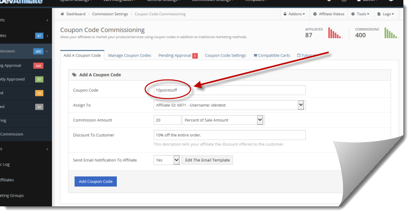 Users can commission 'vanity' coupon codes in iDevAffiliate