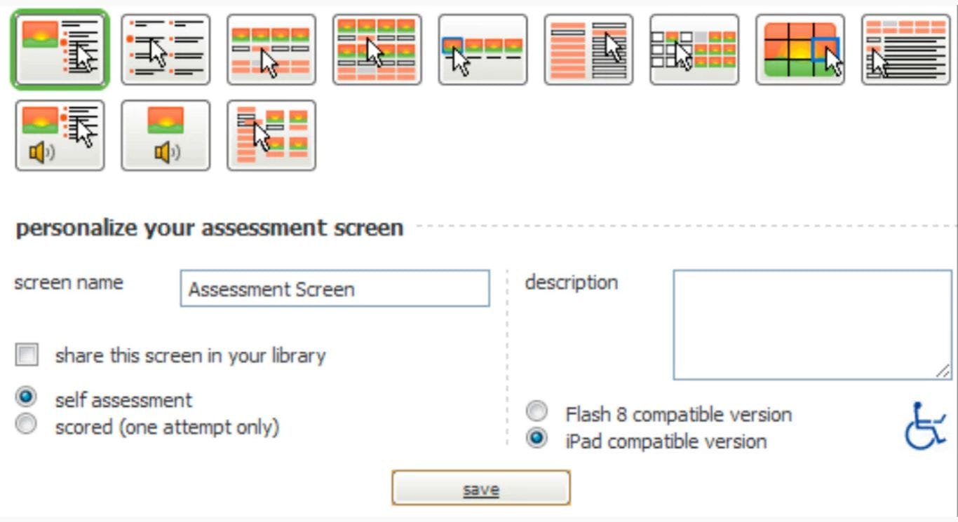 Assessment screen