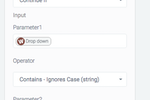 Automate.io screenshot: Filters allow users to define the circumstances under which a workflow should continue