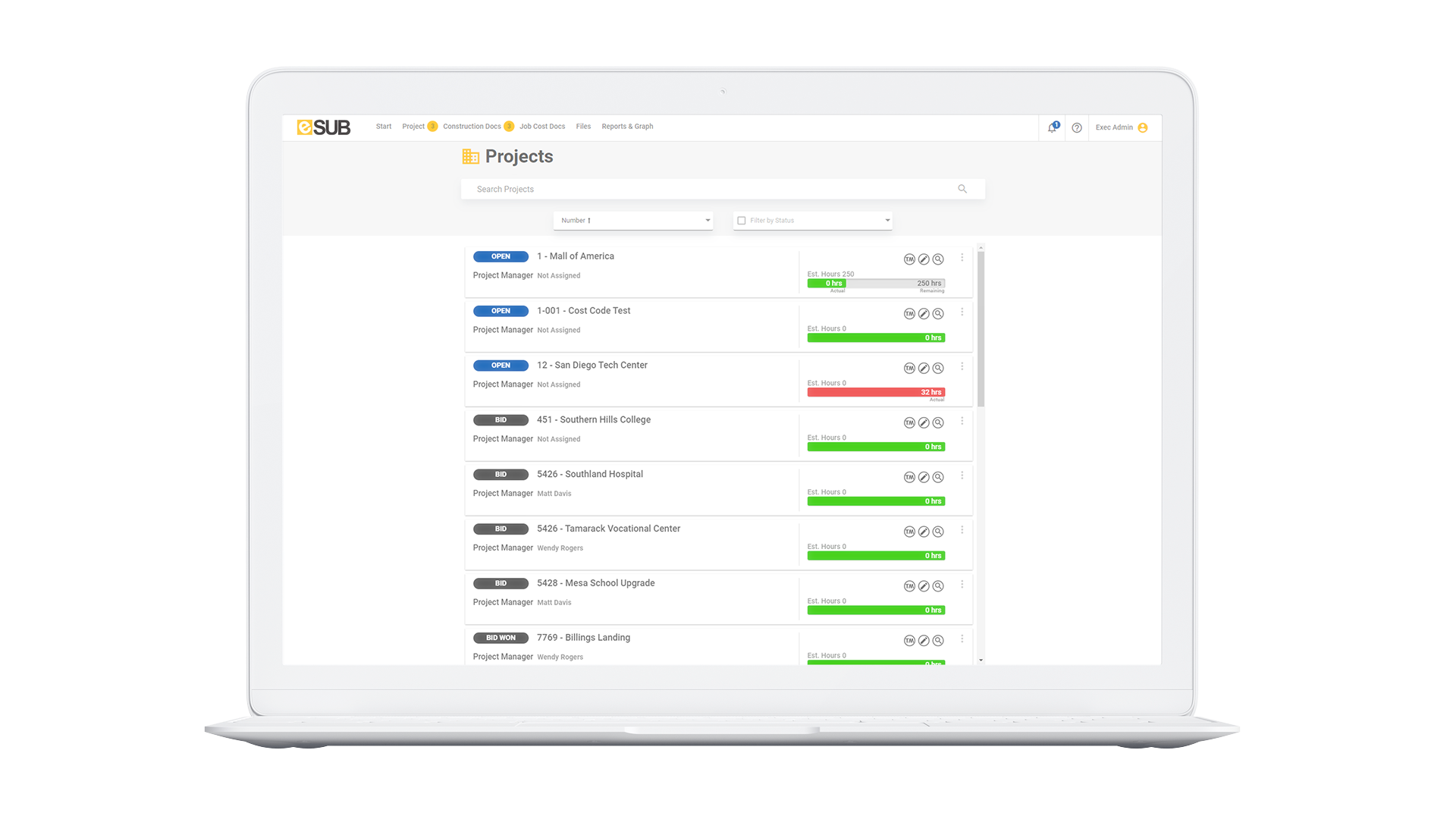 Manage all projects in one centralized location
