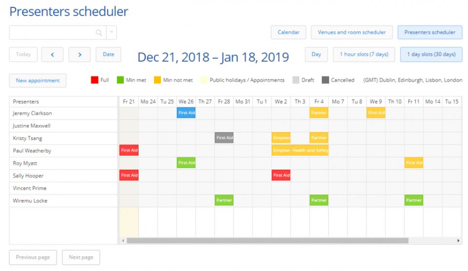Arlo - training calendar