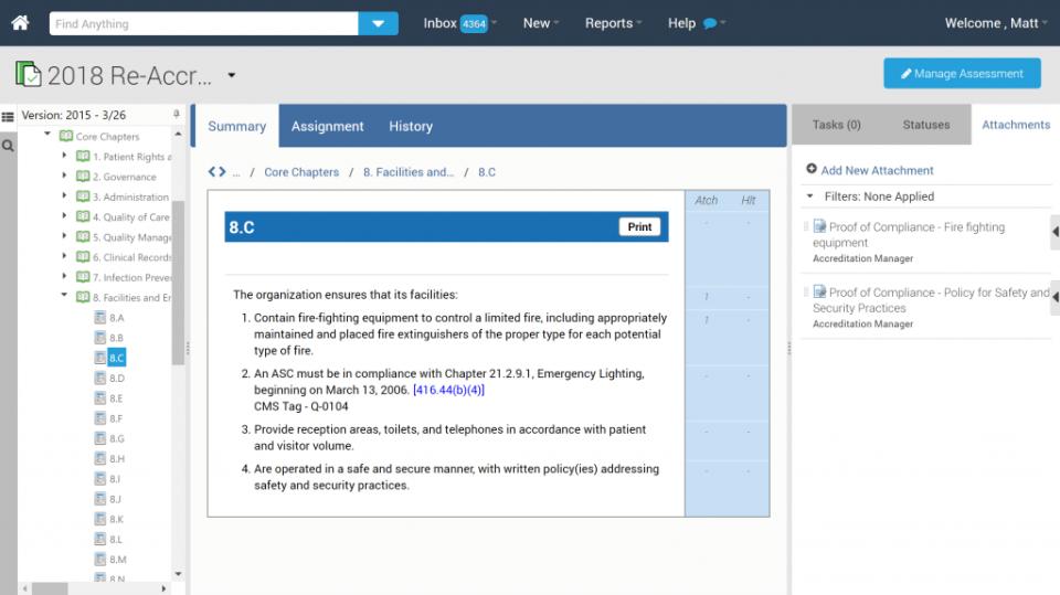 PowerDMS assessment summary screenshot