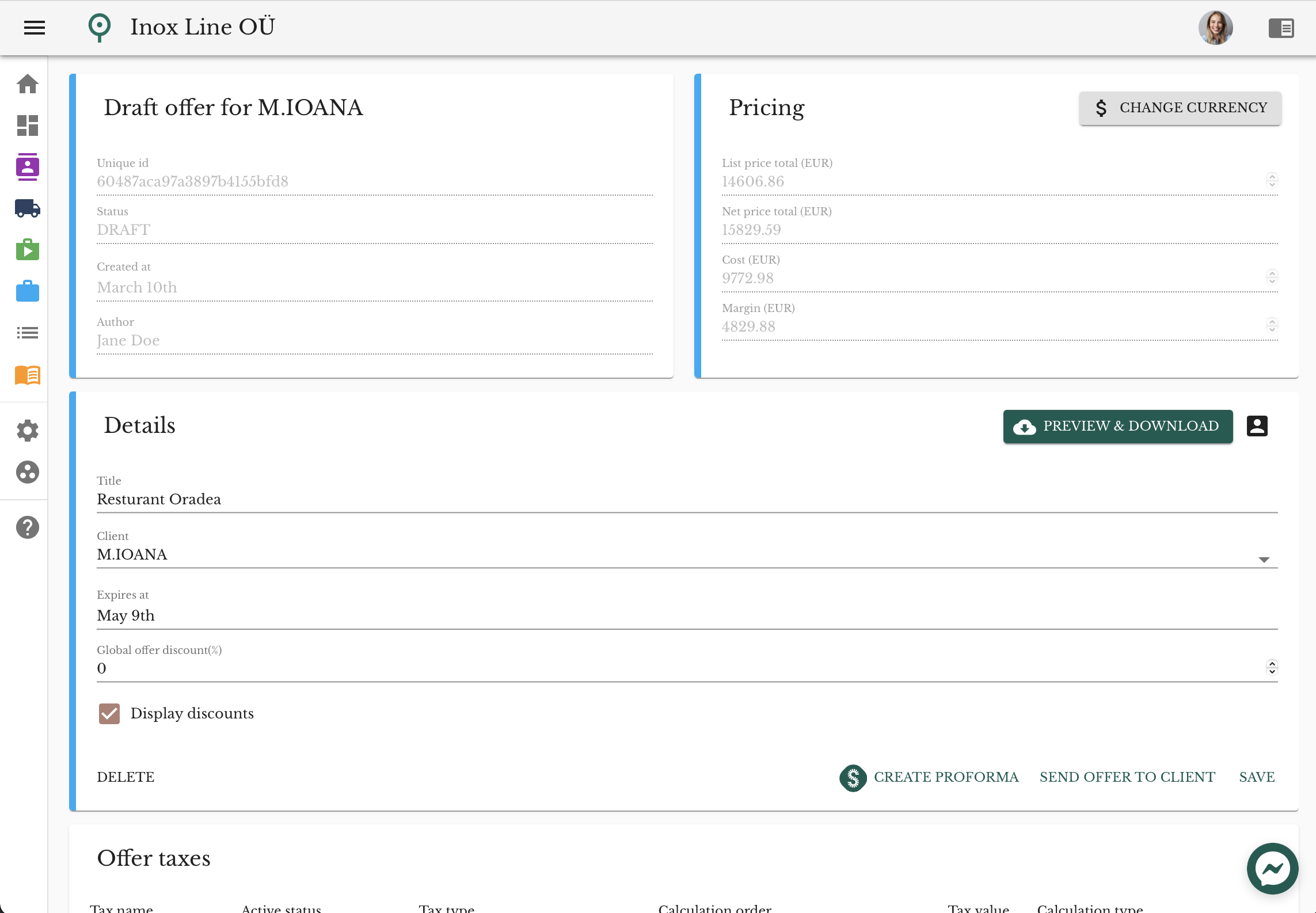 Individual Offer/quote page in OptiOffer